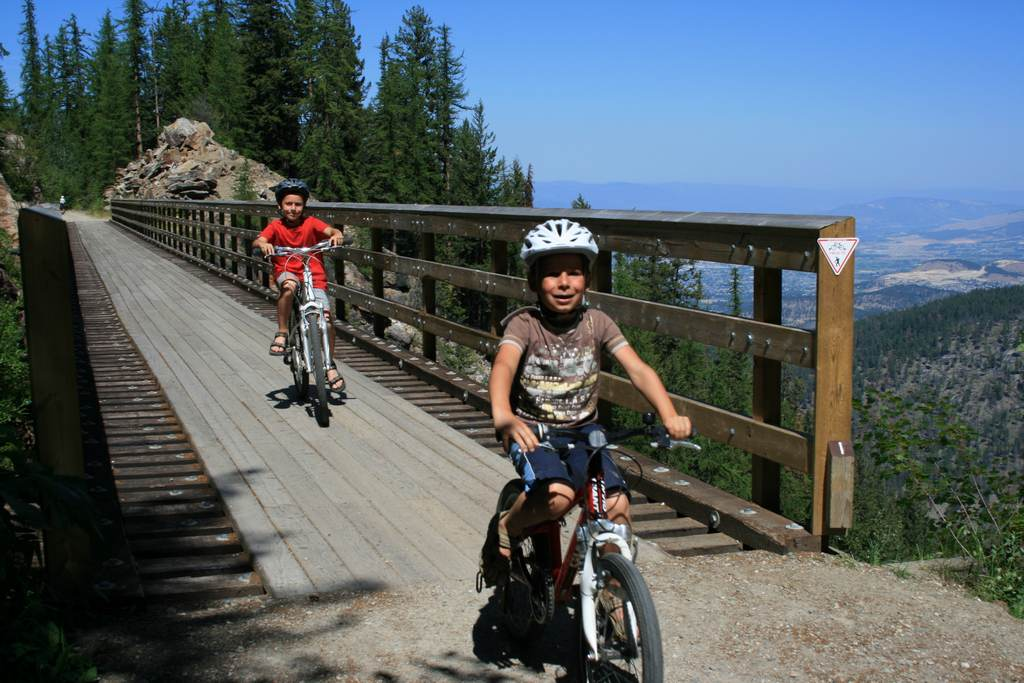 Myra Canyon cycling with kids
