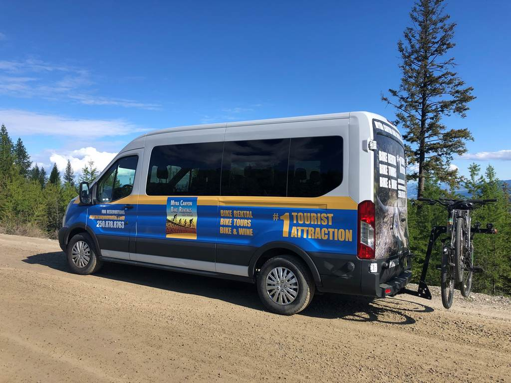 Myra Canyon bicycle rental tour bus