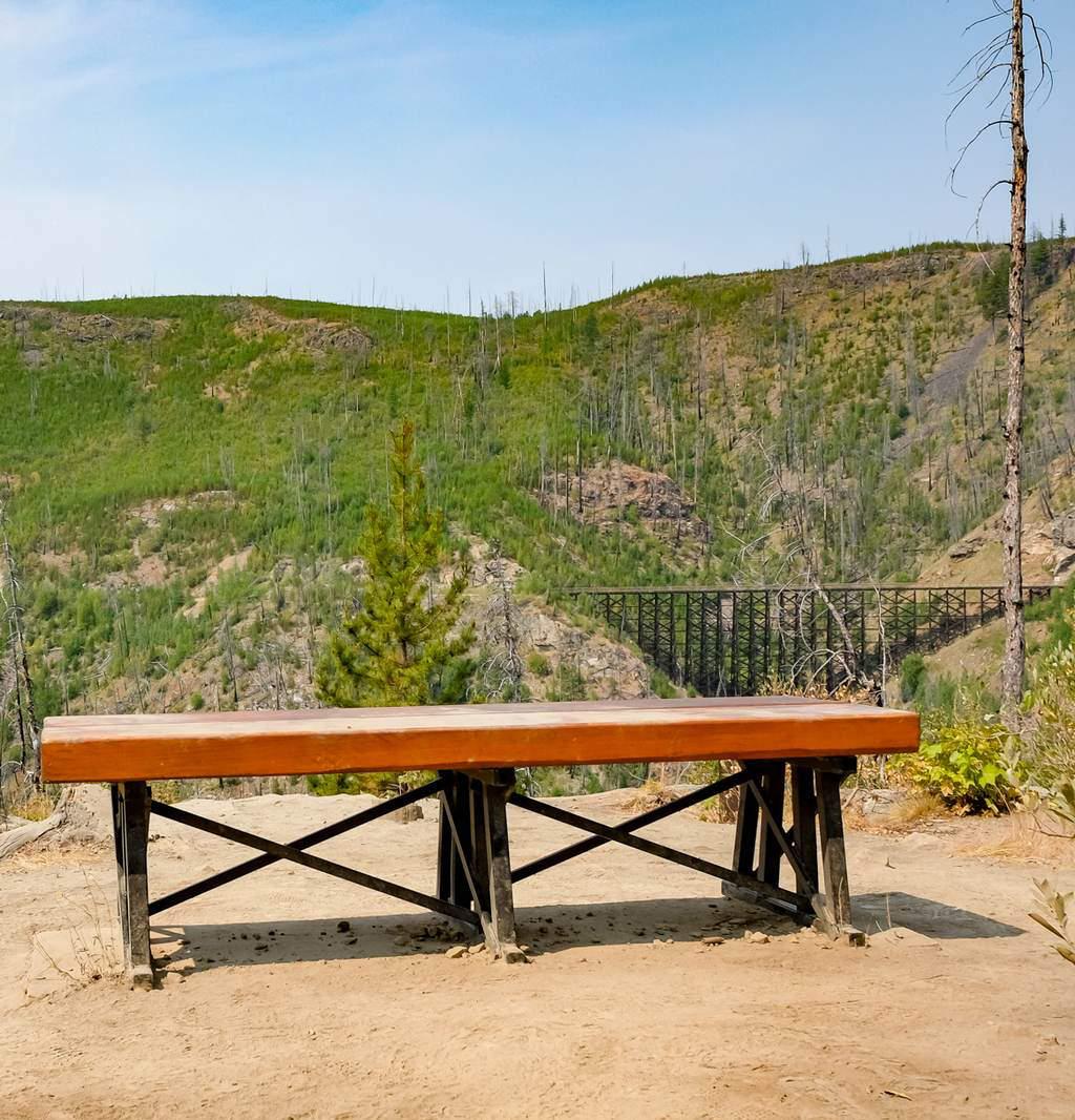 Bench at Myra Canyon trail